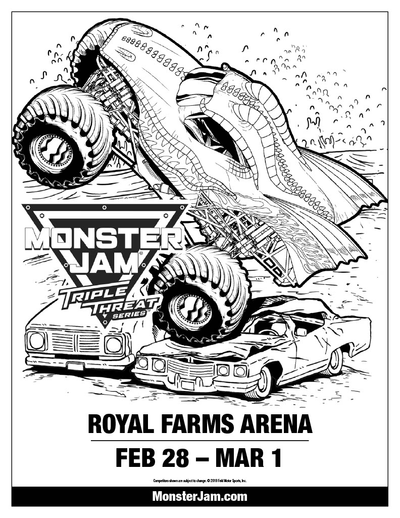 Monster Jam Coloring Activity Sheet