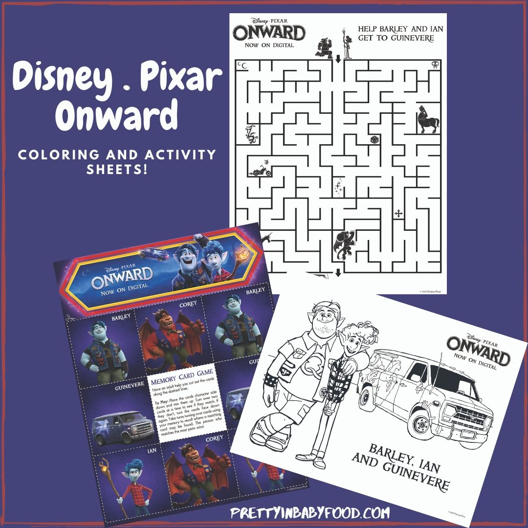 Pixar Onward coloring and activity sheets